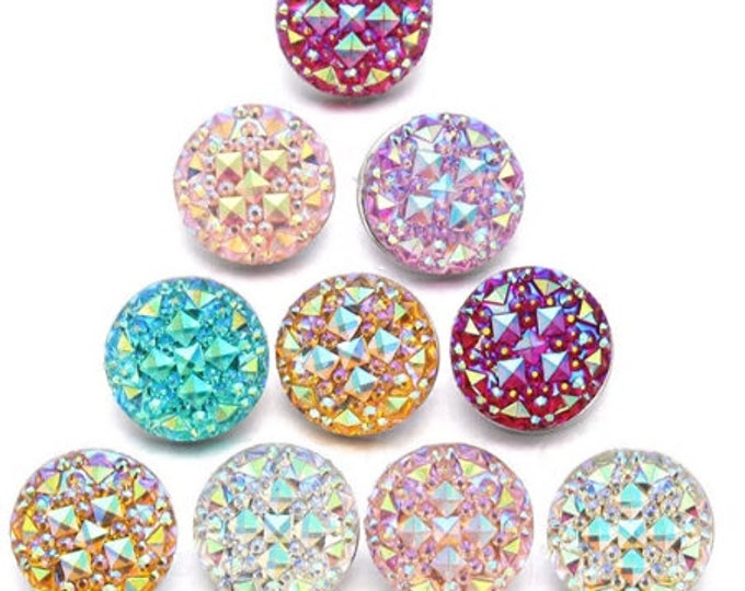 "Sparkly ""Druzy"" Style Resin Snaps - Available in Ruby Red - Blue-Green - Royal Blue - Pink - Light Pink - Gingersnaps - Magnolia and Vine"