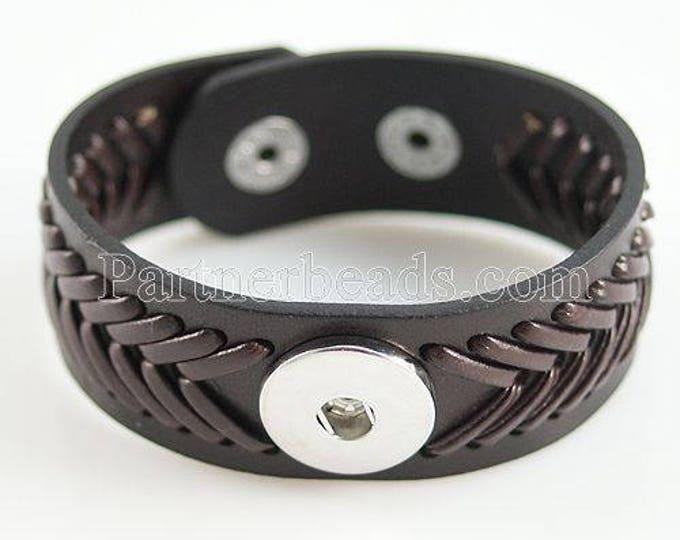 "Woven Leather Black ""Baseball"" Adjustable Cuff Bracelet"