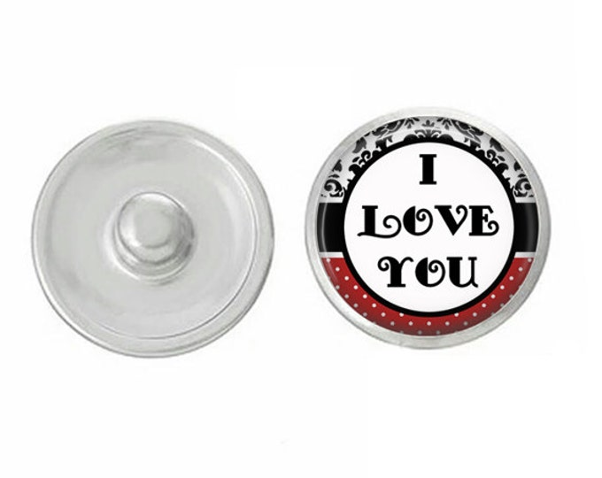 I Love You Snap - Compatible with Studio66 LLC -  Gingersnaps - Magnolia and Vine - Noosa 18-20mm Base - Handpressed Snaps