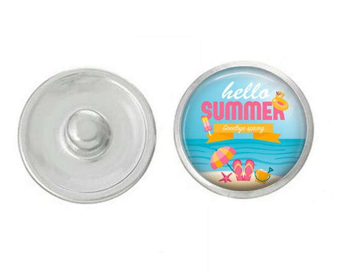 Hello Summer Snap - Pair with Our Base Pieces - GingerSnaps or Magnolia and Vine Jewelry - Handpressed Snaps - 18-20mm Snaps