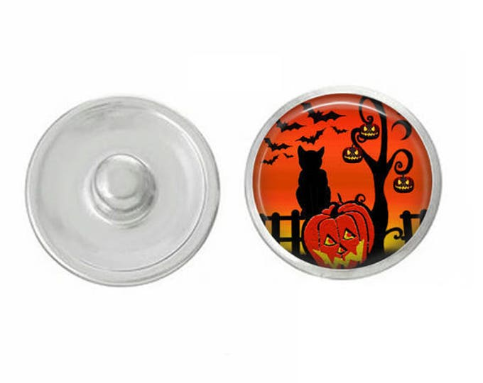 Cat on Pumpkin Snap for Jewelry - Bracelets - Charm Bracelets - Compatible with Gingersnaps - Ginger Snaps - Chunk - 18mm Snap Jewelry