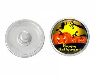 Happy Halloween Pumpkins Snap - for Jewelry - Bracelets - Charm Bracelets - Compatible with Gingersnaps - Ginger Snaps - Noosa - Chunk