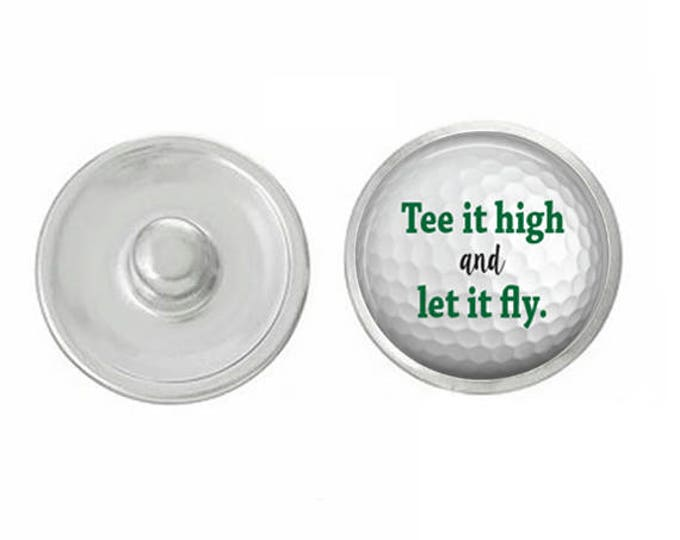 Tee It High And Let It Fly Golf Snap Pair with our Base Pieces - Compatiable with GingerSnaps and Magnolia and Vine - HandPressed Snaps