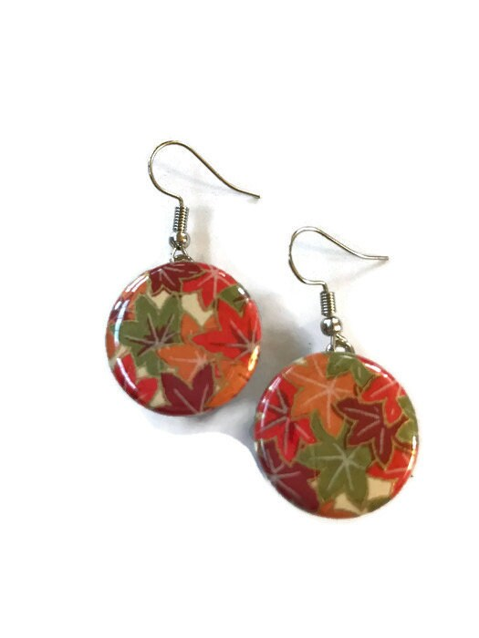 Snap Earrings - French Hook Fall Autumn Chiyogami Paper