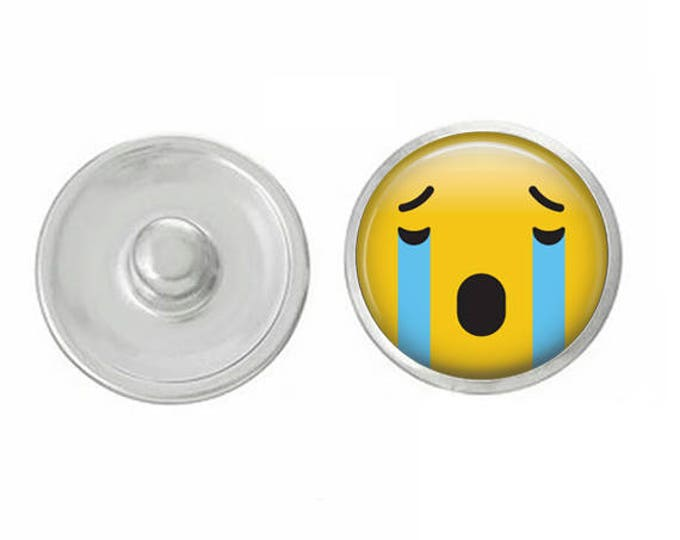 Sad Emoji Snap - Pair with Our Base Pieces - Also Coordinates with 18-20mm GingerSnaps and Magnolia and Vine Base Pieces