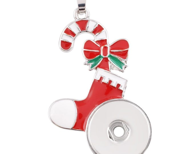 Candy Cane - Stocking - Christmas - Holiday - Festive Snap Pendant - Compatible with Gingersnaps -Magnolia and Vine - 18-20mm