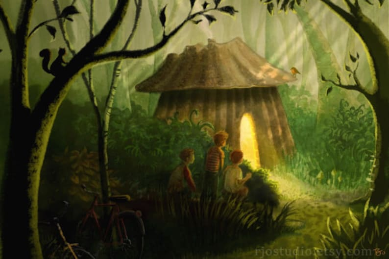 Whimsical woodland painting Wall art  for adventurous boys who love the forest Boys discovering a hut in the woods 16x24 canvas print.