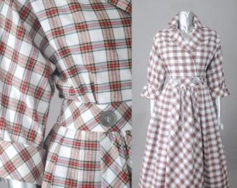 I. Magnin plaid day dress  | 1980s plaid dress | vintage plaid shirt dress
