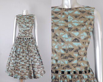 Natlynn Originals tiki print dress | 1950s novelty print dress | vintage 50s dress
