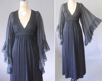 a188c6196a0b Angel boho dress, empire waist dress, polka dot maxi dress, boho clothing,  caftan dress