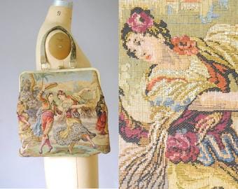 Sac à main en tapisserie Marbella | sac à main en tapisserie des années 1960 | 60 s sac à main