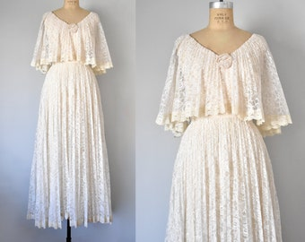 Diahann 70s lace wedding dress, 70s dress, lace maxi dress, 70s dress, cottagecore boho