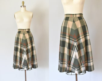 Aimee 1970s wool skirt, plaid skirt, high waisted skirt, bohemian clothing, boho clothing