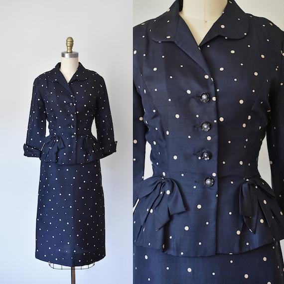 R & K silk shantung suit, vintage 1940s suit, pol… - image 1