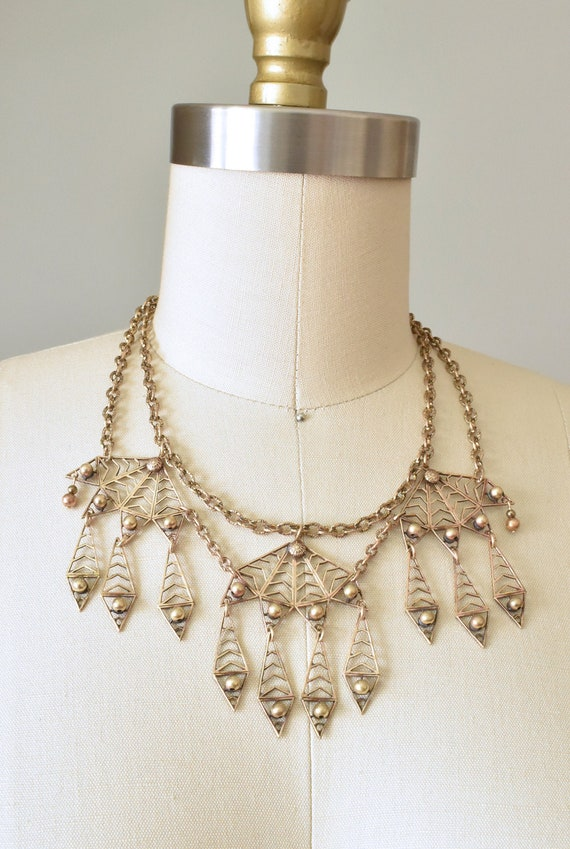 Rashida 1930s brass bib necklace, art deco jewelry