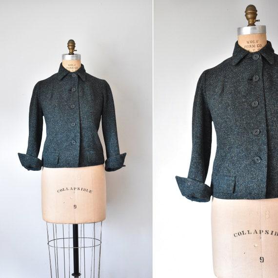 Helena 1950s wool suit jacket, green blazer, vinta