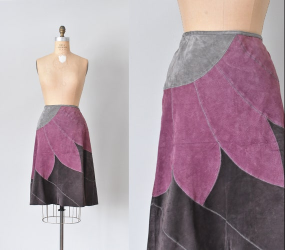 Lotus suede midi skirt, a line skirt, 90s clothing