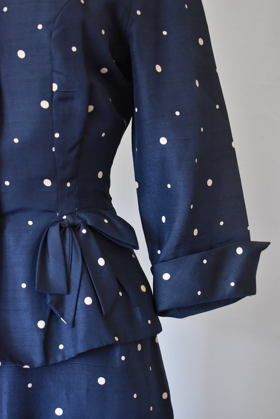 R & K silk shantung suit, vintage 1940s suit, pol… - image 6