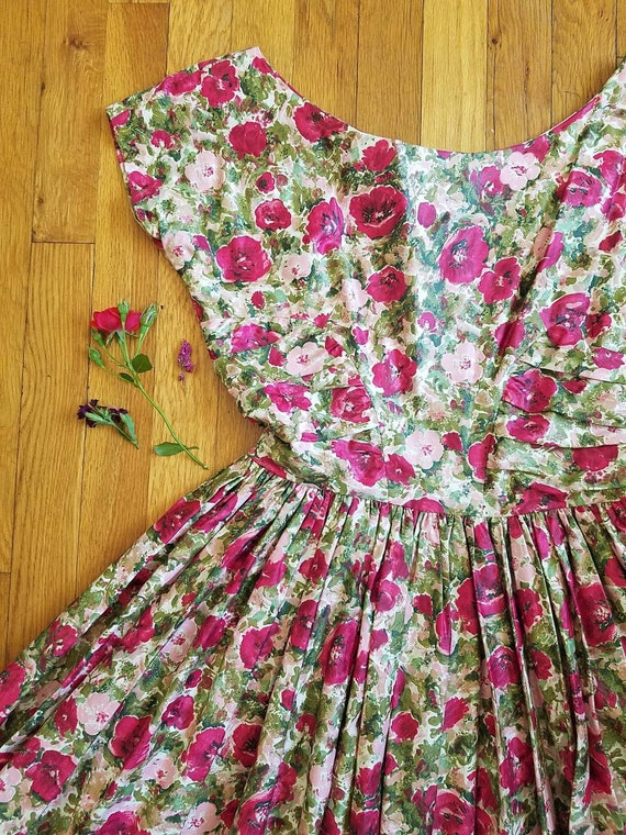Adelaide floral 1950s dress, pink print dress, roc