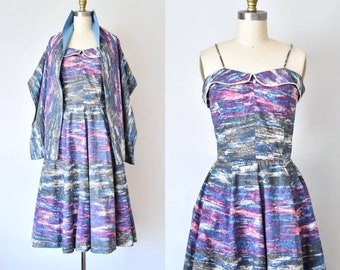 Riviera 1950s dress and stole, 50s cotton dress, novelty print summer dress, shawl, vintage clothing