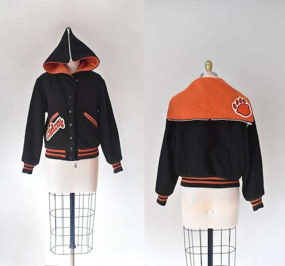 Chelcey wool varsity jacket, black bomber jacket
