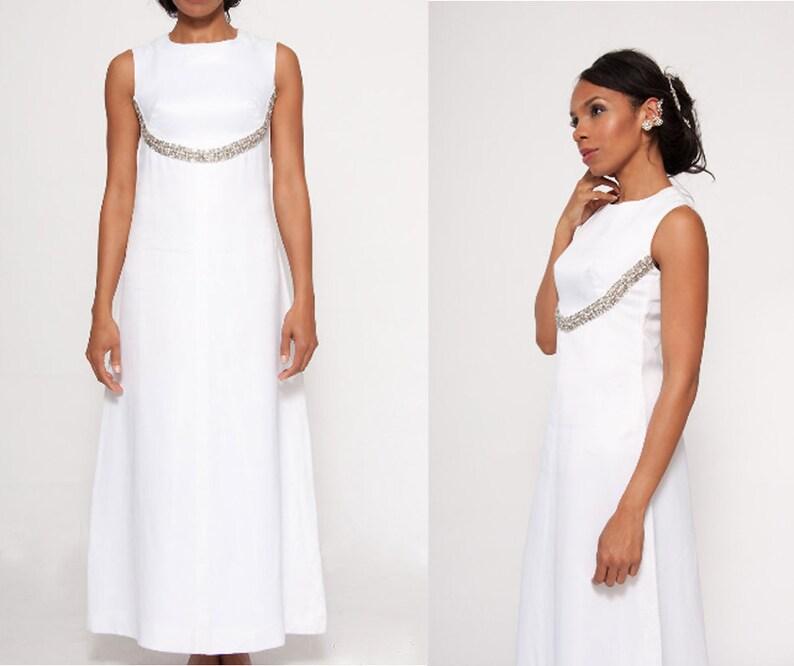 Constance satin wedding dress, 60s wedding gown