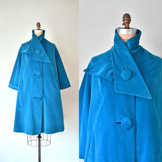 Marguerite 1960s turquoise velvet swing coat, wome