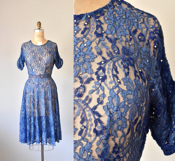 Belle lace 1940s dress, 40s lace dress, 1950s dres