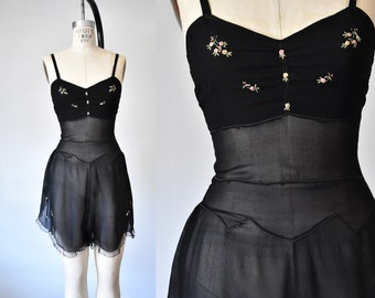 Giverny 1920s 1930s embroidered silk chemise, flapper step in, teddy romper, vintage lingerie