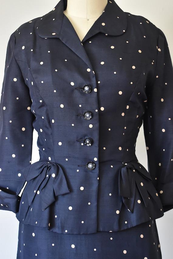 R & K silk shantung suit, vintage 1940s suit, pol… - image 3