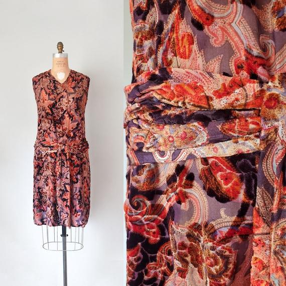 Virgina burnout velvet 1920s dress, silk velvet dr