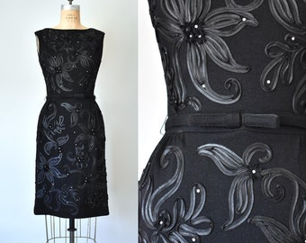 Annette wool knit ribbon rhinestones 1950 dress, 60s dress, vintage clothing women, little black dress, pinup