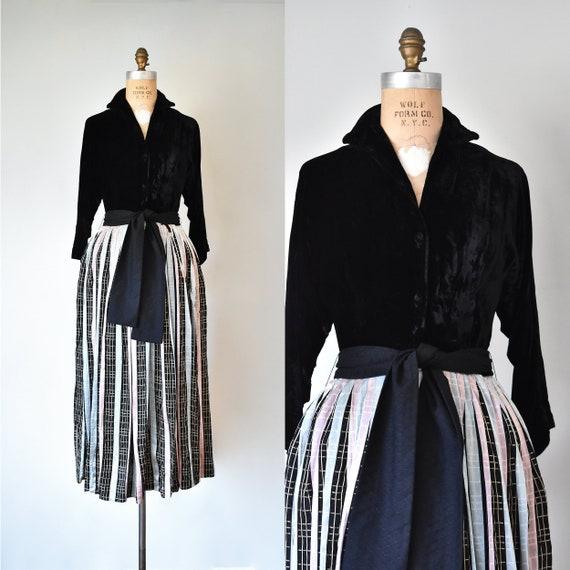 Leslie velvet 1940s dress, 1950s dress, vintage dr