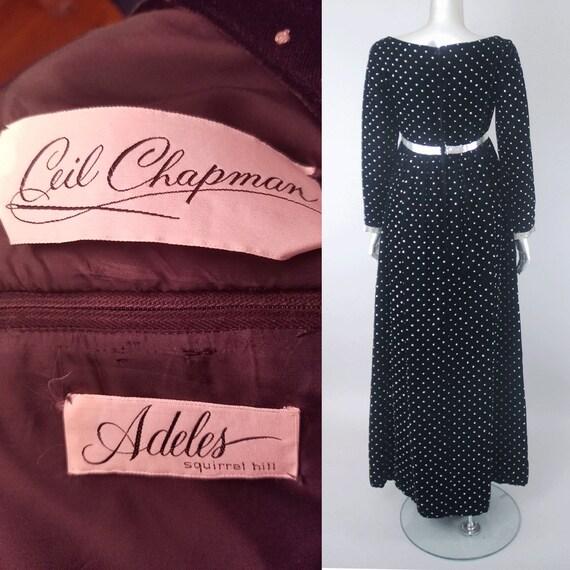 Ceil Chapman velvet empire waist dress, velvet dr… - image 5