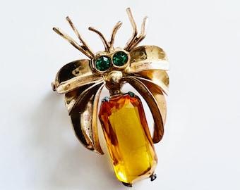 Art deco amber spider brooch, 1930s lapel pin, topaz amber jewelry, art deco brooch pin