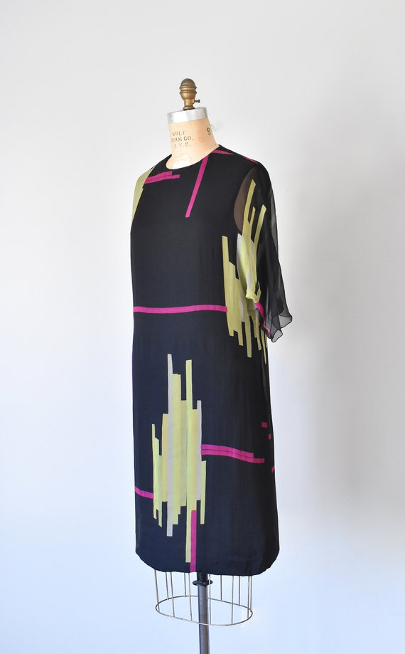 Teal Traina color block silk dress, mad men 1960s… - image 3