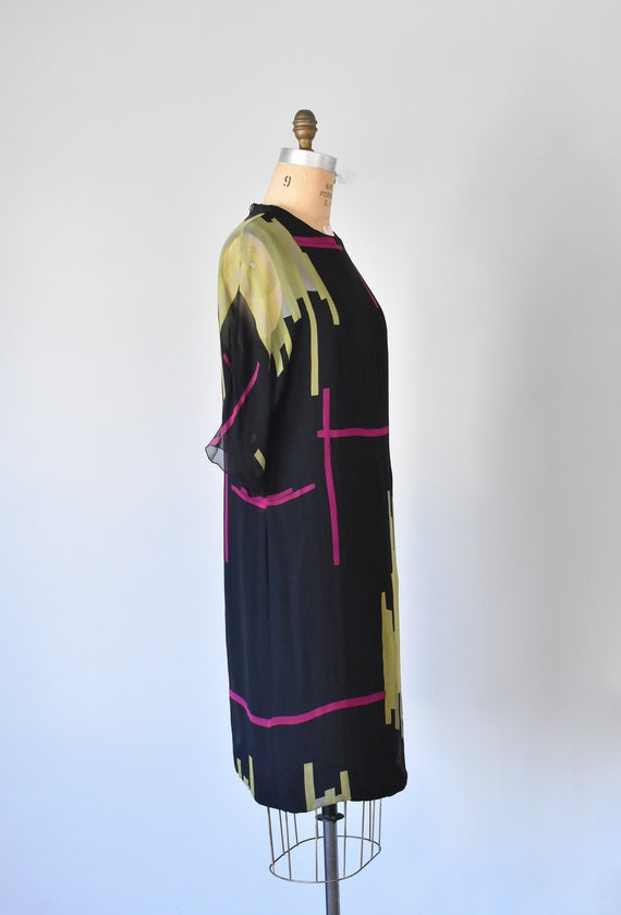 Teal Traina color block silk dress, mad men 1960s… - image 6