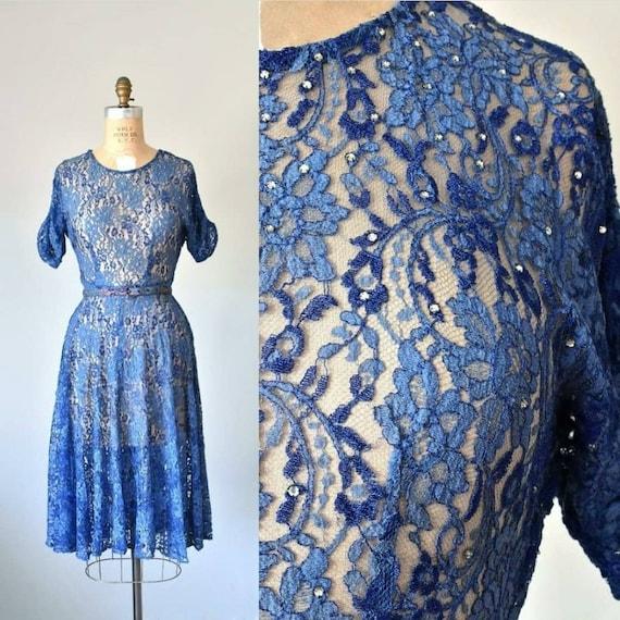 Belle lace 1940s dress, 40s lace dress, 1950s dres