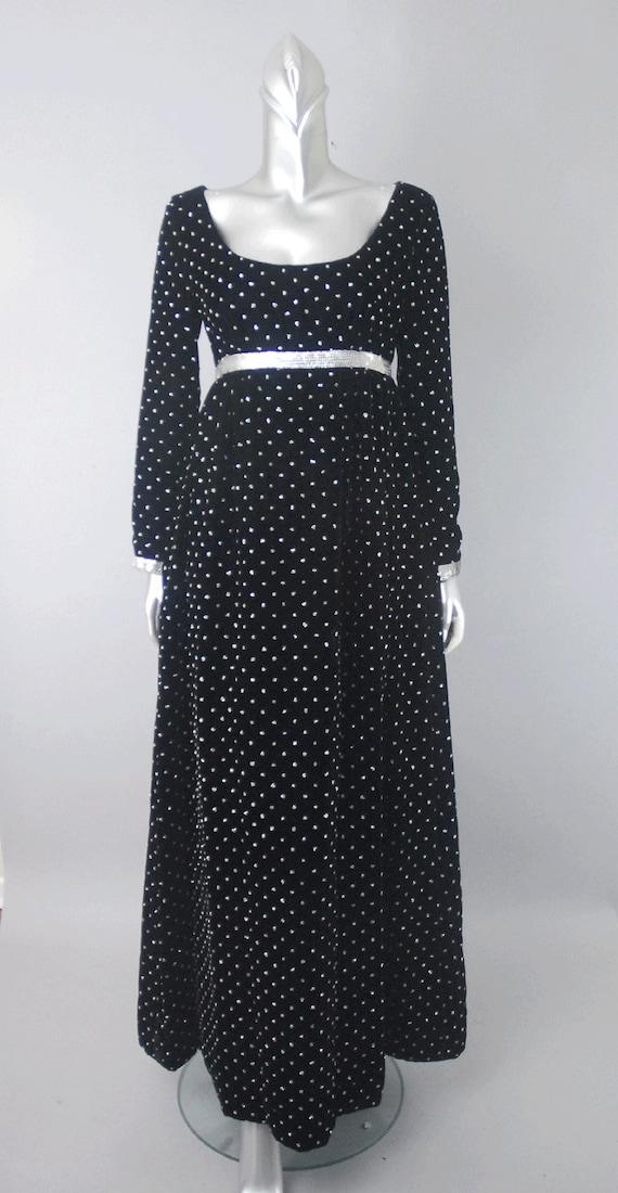 Ceil Chapman velvet empire waist dress, velvet dr… - image 2