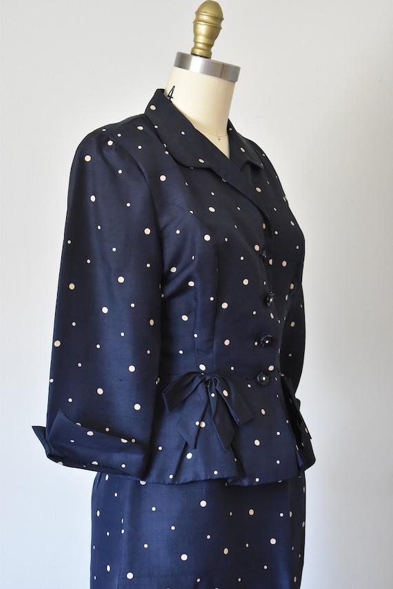 R & K silk shantung suit, vintage 1940s suit, pol… - image 7