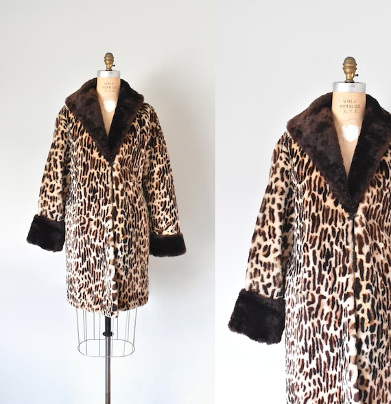 Marilyn 1950s leopard print fur coat, rockabilly s