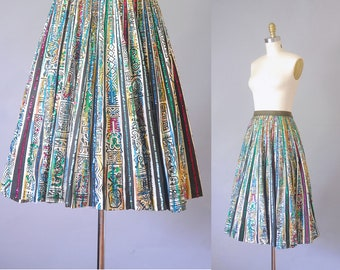 Saguaro painted mexican circle skirt  | 1950s mexican skirt  |  vintage 50s circle skirt