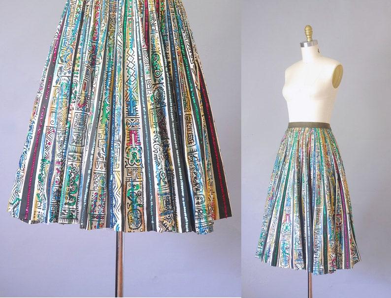 aztec high waisted skirt Saguaro 1950s circle skirt mexican midi skirt rockabilly pin-up