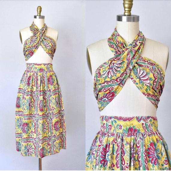 L'Amour 1940s beach skirt & top, tropical playsuit
