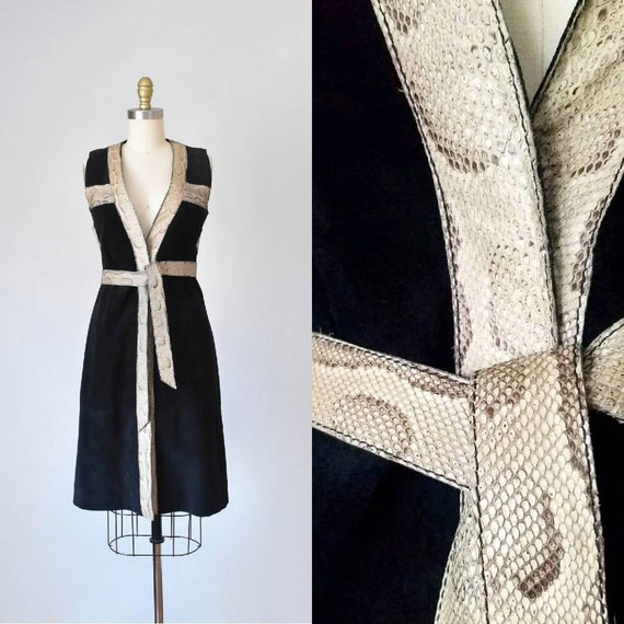 Begedor suede snakeskin dress, hippie 1960s dress,