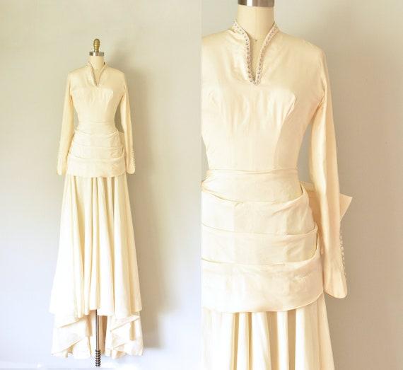 Onassis vintage wedding dress, 1940s dress, victor