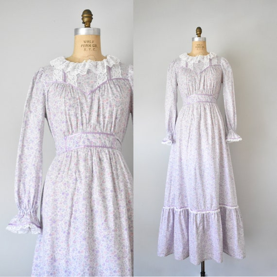 Arabella floral prairie dress, purple 70s dress, … - image 1