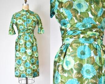 Hellene silk 1960s dress, floral dress, summer dress and jacket, 60s dress