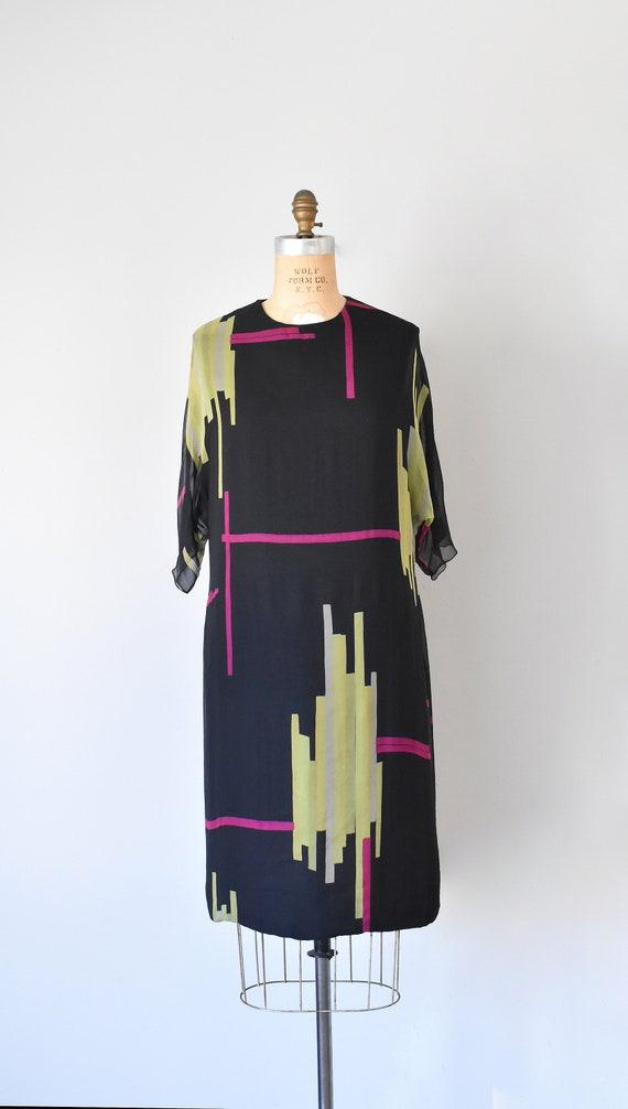 Teal Traina color block silk dress, mad men 1960s… - image 2