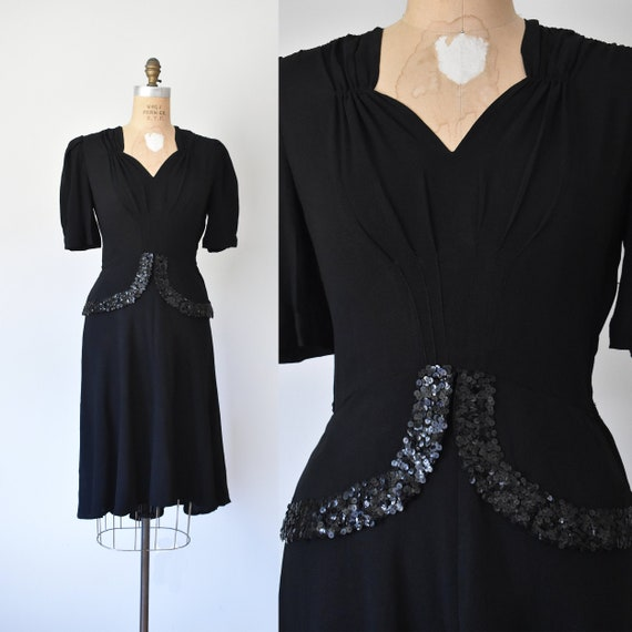 Rose Lounge 1940s dress, 40s sequin dress, rockabi